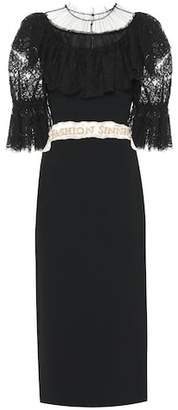 Dolce & Gabbana Stretch cady and lace midi dress
