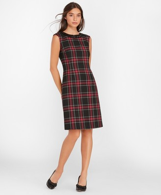 Brooks Brothers Beaded Plaid Sheath Dress