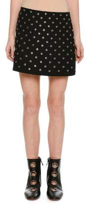 Valentino Embroidered Crepe Couture Mini Skirt, Black