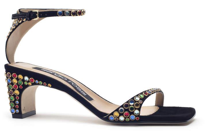Sergio Rossi Black Suede Jeweled Sandals