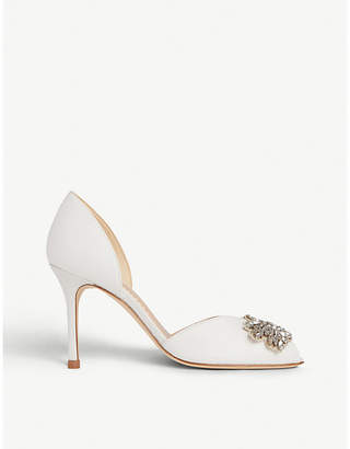 LK Bennett x Jenny Packham Beatrice crystal-embellished satin peep-toe pumps