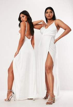 Missguided Plus Size White Slinky Drape Front Maxi Dress