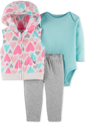 Carter's Baby Girls 3-Pc. Hooded Vest, Bodysuit & Pants Set