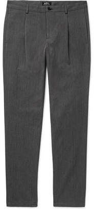 A.P.C. Florian Tapered Pleated Herringbone Cotton and Wool-Blend Trousers - Men - Gray