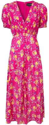 Saloni floral V-neck midi dress