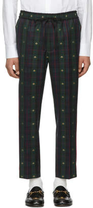 Gucci Navy and Green Wool Check Bee Iconic Trousers