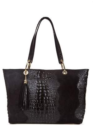 Lisa Minardi Tassel Detail Croc Embossed Suede Bag
