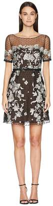 Marchesa Cap Sleeve Boat Neck A-Line Embroidered Flocked Tulle Cocktail Women's Dress