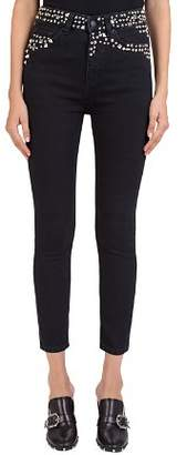 The Kooples Studded Cropped Slim Jeans in Black