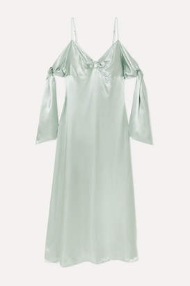 MM6 MAISON MARGIELA Draped Satin Maxi Dress - Mint