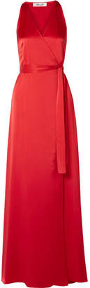 Diane von Furstenberg Silk-satin Wrap Maxi Dress - Red