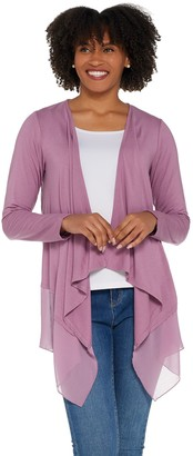 Joan Rivers Classics Collection Joan Rivers Jersey Knit and Chiffon Draped Cardigan