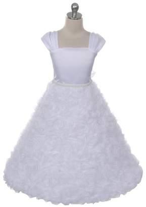 Kids Dream Hailey- Rosette Skirt Sleeve Dress White