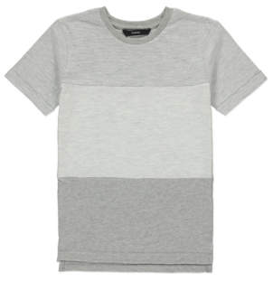 George Grey Striped Panel T-Shirt