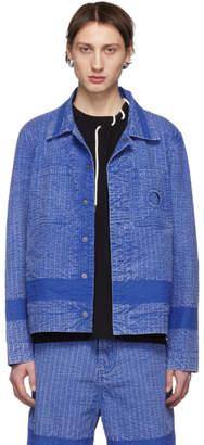 Craig Green Blue Acid Wash Line Stitch Worker Jacket
