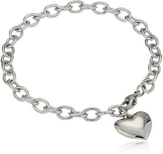 ELYA Jewelry Womens Stainless Steel Polished Heart Charm Bracelet