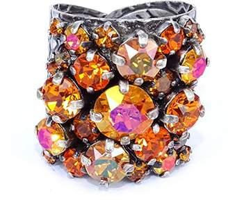 Konplott Women Ballroom Brass Glass Orange Ring – Size Adjustable – 5450543468532