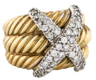 David Yurman 14K Diamond X Ring