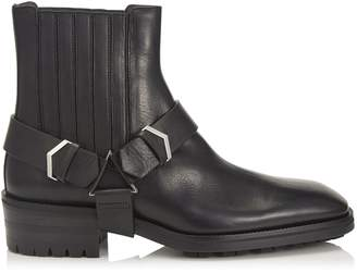 Jimmy Choo LOKK Black Water Resistant Vacchetta Ankle Boots