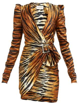 53bf33ea Alexandre Vauthier Tiger Print Crystal Buckle Silk Blend Mini Dress -  Womens - Brown Print