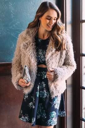 francesca's Holly Cropped Faux Fur Coat - Gray