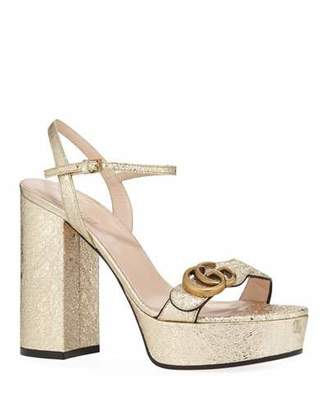 Gucci Marmont Metallic Block-Heel Platform Sandals
