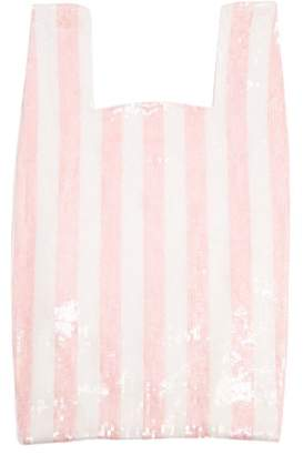 Ashish Striped Sequin Embellished Cotton Bag - Womens - Pink White