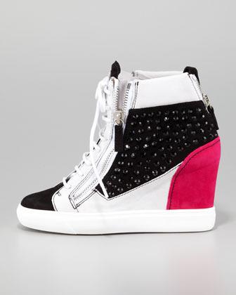 Giuseppe Zanotti Crystal Colorblock Wedge Sneaker, Black/Pink/White