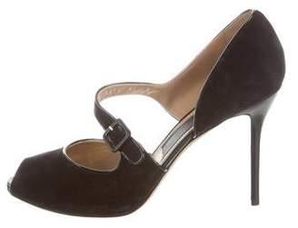 clearance new styles online store Salvatore Ferragamo Nubuck Peep-Toe Pumps 100% original for sale discount low price lXmnR7