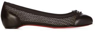 Christian Louboutin Miss Mix Mesh And Leather Flats - Womens - Black