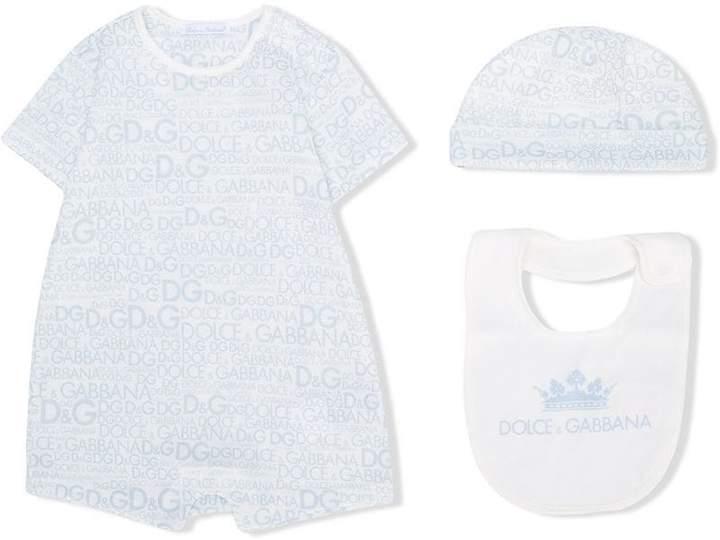 printed three-piece babygrow set