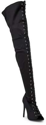 Wild Diva Lounge Carmela Peep Toe Lace-Up Thigh High Boot