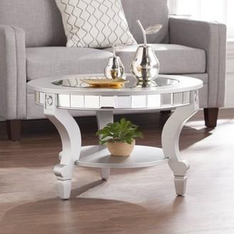 Southern Enterprises Ladislas Glam Mirrored Round Coffee Table, Matte Silver