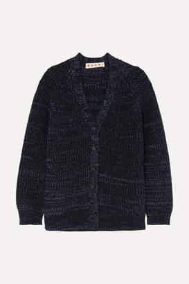 Marni Oversized Ribbed Mélange Wool Cardigan - Navy