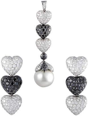 Heritage De Grisogono De Grisogono 18K White Gold 24.00 Ct. Tw. Diamond & 19.33Mm Pearl Pendant & Earrings Set