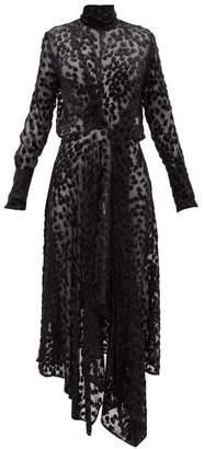 Petar Petrov Dyan Leopard Devore Ruched Front Dress - Womens - Beige Print