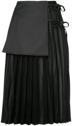 Noir pleat layered skirt