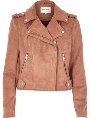River Island Womens Dusty pink faux suede scuba biker jacket