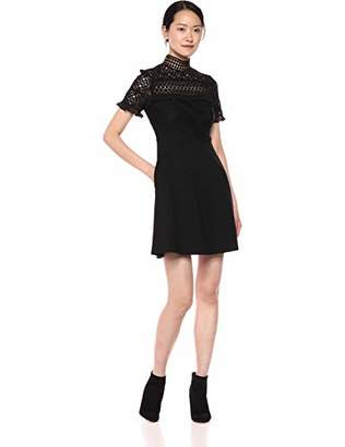 Nicole Miller New York Women's Short Sleeve Lace Ruffle Fit Flare Dress