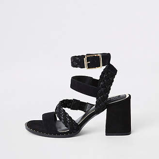 River Island Black leather strappy block heel sandals