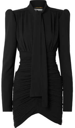 Saint Laurent Tie-front Ruched Crepe Mini Dress - Black