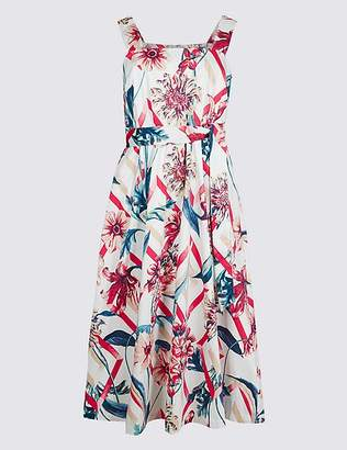 Marks and Spencer Cotton Rich Floral Print Skater Midi Dress