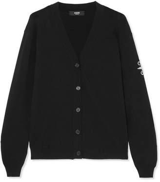 Versace Embellished Stretch-knit Cardigan - Black