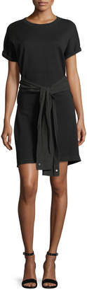 Alexander Wang Crewneck Short-Sleeve Shirtdress with Tie Detail