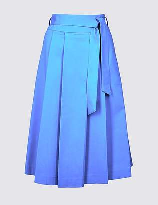 Marks and Spencer Cotton Rich Belted Full Midi Skirt