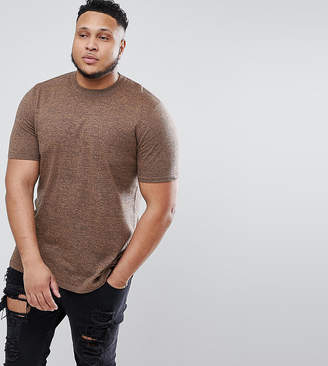Asos Design DESIGN Plus Knitted Longline T-Shirt In Tan Twist