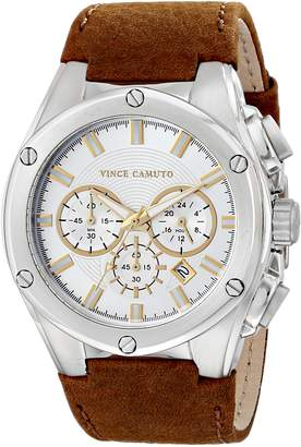 Vince Camuto Men's VC/1064SVBN The Dyver Silver-Tone Brown Leather Strap Chronograph Watch