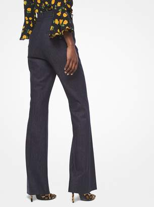 Michael Kors Wool-Denim Flared Trousers