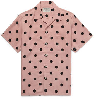 Wacko Maria Camp-Collar Polka-Dot Lyocell Shirt