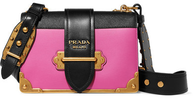 Prada - Cahier Small Two-tone Leather Shoulder Bag - Pink